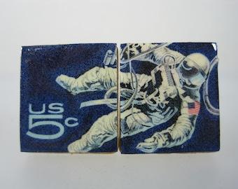 Cufflinks Vintage Genuine USA 5 cents Stamp Spacewalk Space NASA Handmade Cuff Links