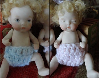 "SALE 4"" All Bisque Babies Boy and Girl Dianna Effner Sooo Cute"