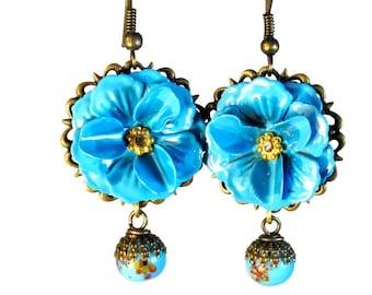SALE! Turquoise Blue Flower Dangle Earrings, Flower Earrings, Vintage Inspired Jewelry