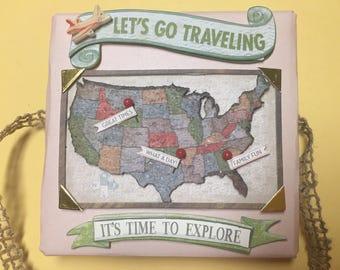 Travel/vacation mini accordion memory pocket photo album handmade