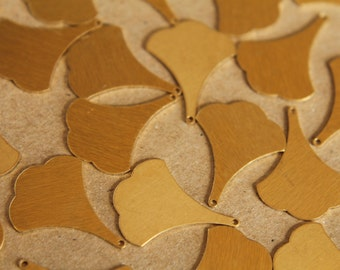 10 pc. Raw Brass Flat Ginkgo Leaves (Smaller Size): 22mm by 17mm - made in USA | RB-077