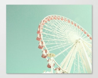 Girl nursery wall art girl nursery decor girl, ferris wheel art, nursery canvas, framed wall art, pink wall art, nursery print, nursery art