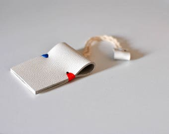 Minimalist leather keychain, personalized keyholder key fob, white keyholder, personalized gifts, ready to ship