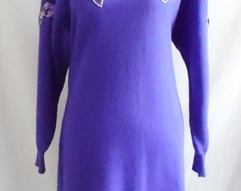 Vintage 1980s Darian Purple Sequined Sweater Dress, Vintage Long Sleeve Sweater Dress, 1980s Sweater Dress, 1980s Purple Dress, 1980s Darian