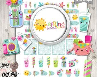 Spring Stickers, Planner Stickers, Spring Break, Printable Planner Stickers, Planner Accessories, Relax Stickers, Break Stickers, Stickers