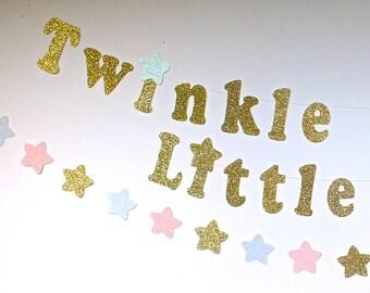 Gender Reveal Shower Twinkle, Twinkle Little Star Gold Glitter Banner, Stars Garlands, Stars Confetti, Birthday Decoration