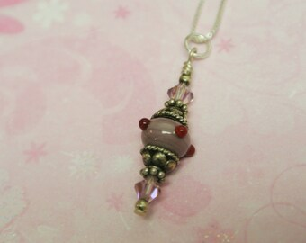 The Pink Pimento a Mini Lampwork Bead Necklace