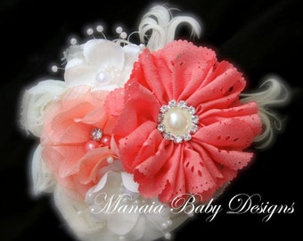 Ivory and Coral Vintage Headband