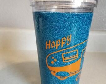 Happy Camper- Glitter dipped plastic 16 ounce tumbler