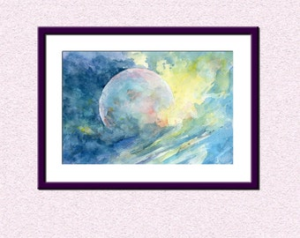 Printable abstract wall art, downloadable cosmos watercolour painting, outer space  yellow blue decor, instant download art