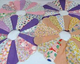 4 Vintage Dresden Plate Hand Stitched Quilt Squares