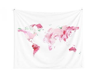 Pink Map Wall Tapestry