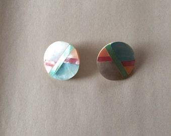 mother of pearl inlay earrings | minimalist pastel circle earrings