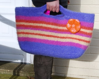 Periwinkle Purple Striped Felted Tote Bag