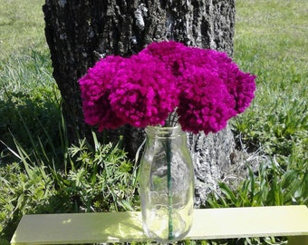 12 Mulberry yarn pom pom flowers. Pom pom bouquet centerpieces. Wedding/ baby shower decorations.