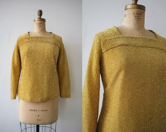 vintage 1960s shirt / 60s gold lurex top / metallic gold long sleeve blouse / NYE top / sparkly holiday party top / plus size L XL