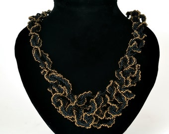 Black and gold woven Curly necklace Beadwork necklace Handmade necklace