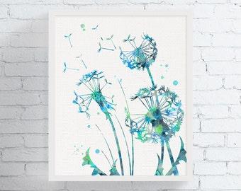 Dandelion Wall Art, Watercolor Dandelion, Dandelion Print, Flower Wall Art, Bedroom Decor, Bathroom Decor, Floral Print, Nature Wall Art
