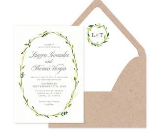 Delicate Wreath Wedding Invitations