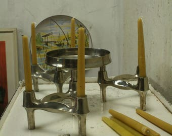 Set of 3 nagel Candle holders plus base plus bowl designed by Ceasar Stoffi and Fritz Nagel and manufactured by BMF