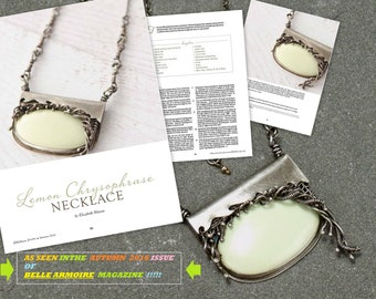 As Seen in Belle Armoire Magazine!  Lemon Chrysophrase Silver Necklace, Metalwork and Wire Work Rustic Boho Jewelry
