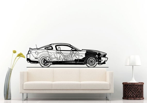 Sport racing american muscle car blueprint wall decal vinyl like this item malvernweather Choice Image