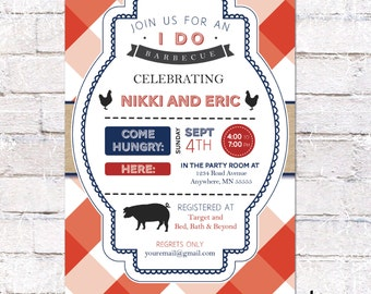Couples Barbecue Shower Invitation - 5x7 - Custom bbq Shower Invite - DIY Printing *DIGITAL FILE*