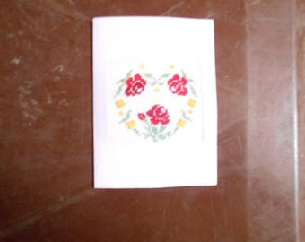 On canvas - heart of roses hand embroidered card