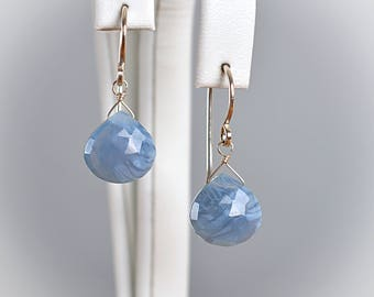 Blue Opal Earrings, October Birthstone Earrings, Heart cut, Blue Peruvian Opal drop Earrings: 14K Rose Gold Filled Sterling Silver