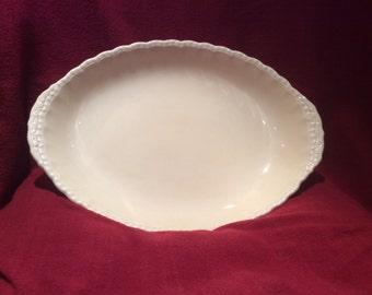 "WH Grindley Serving Dish Circa 1940's cream/pale yellow Ironstone Serving Dish Circa 1940's Diameter 13.5""x9.5"" appx"
