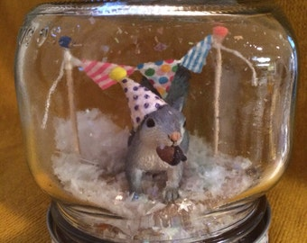 """Party Animal """"Snow Globe"""" - Squirrel! - Birthday, Gift, Party, Decoration"""