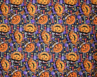 An Adorable Jackolanterns Pumpkins on Halloween Cotton Fabric BTY Free US Shipping