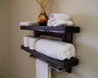 floating wall shelves in bathroom