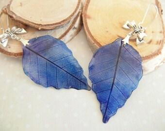 Blue leaf earrings / purple