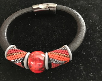 beaded leather bracelet with copper enameled bead