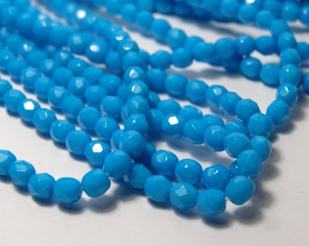 Czech Glass 4 mm Fire Polish Pantone Blue 50 Pieces