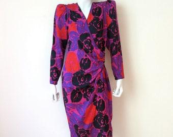 "Vintage Flora Kung Silk Print Wrap Dress/Red Print Silk Evening Dress/1980's Flora Kung Silk Dress/30"" Waist/Medium"