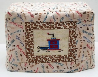 Two Slice Toaster Cover with Coffee Theme, Cream Toaster Cover