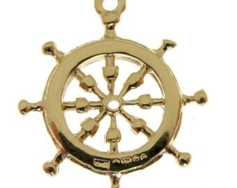 9 Carat Gold Ships Wheel Charm.  Fully hallmarked 9 carat Gold Ships Helm Charm or Pendant