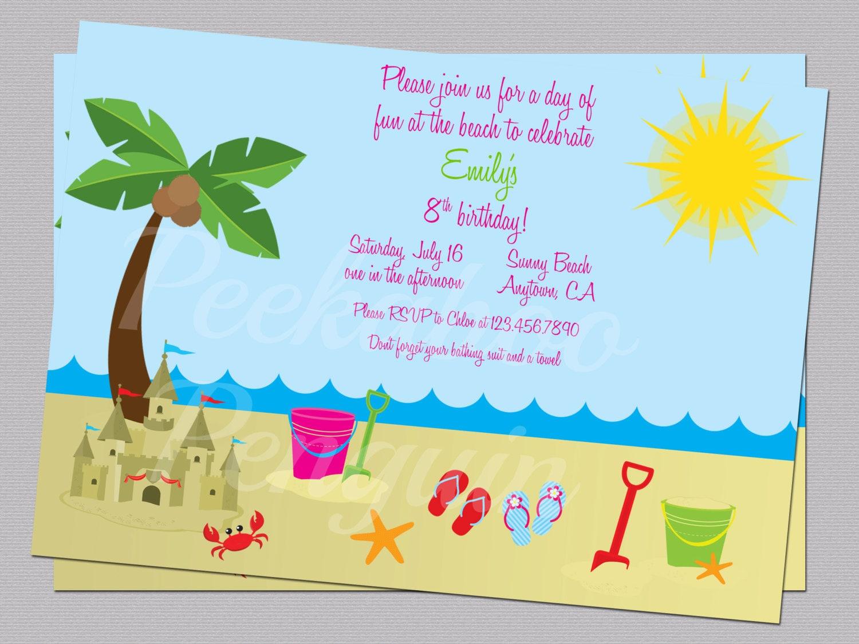 Well-liked Beach Invitations Ocean Birthday Party Invites Kid's PA29