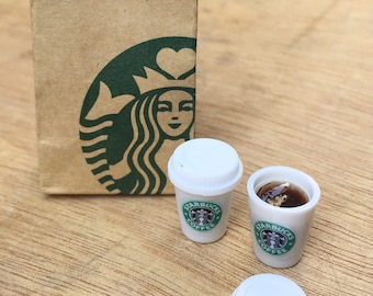 Miniature Starbuck Paper Bag and 2 pcs Hot Starbuck Coffee,Miniature coffee cup Starbucks,Miniature Coffee,Dollhouse Starbucks,Coffee