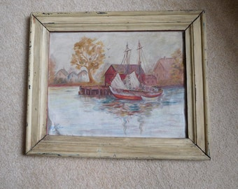 """Antique 1947 painting Entitled """"Home Port"""""""
