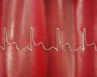 Red Heart Attack - original watercolor painting of EKG of MI