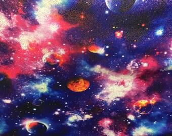 4 way stretch  nylon spandex royal blue/pink sparkle galaxy print fabric  sold by the yard