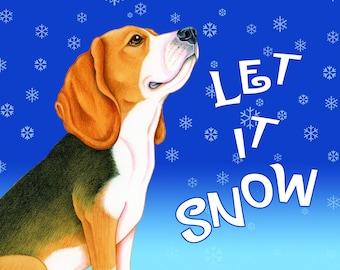 Let It Snow Dog Breed Fleece Blanket