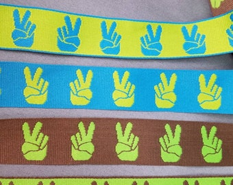 Peace sign hand Jacquard woven fabric trim 1 inch wide sold by the yard