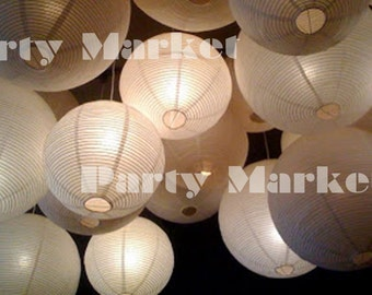 36 Paper Lanterns Led Set Mixed Size White Color Round Lamp Shade Floral  Wedding Party DIY