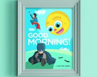 Batman and Superman Cute Kids Poster