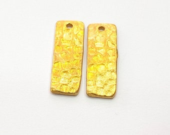 4 Raw Brass Hammered Charms 20x6mm  G12506