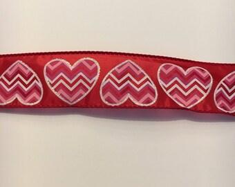 Valentine ribbon red with chevron stripe hearts